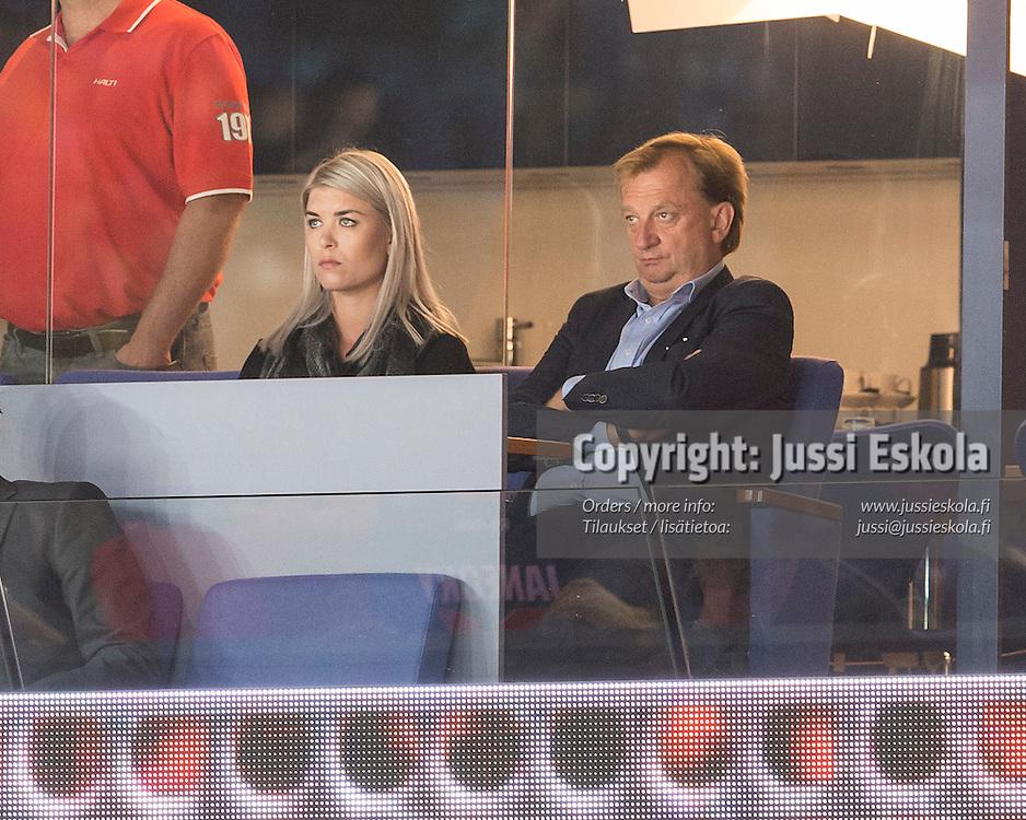 Hjallis Harkimo, Susanna Koski. Jokerit - Severstal. KHL. 25.8.2015. Photo: Jussi Eskola
