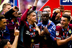Jack Grealish, Albert Adomah of Aston Villa and their teammates celebrate winning promotion to the Premier League after beating Derby County in the Sky Bet Championship Playoff Final - Mandatory by-line: Robbie Stephenson/JMP - 27/05/2019 - FOOTBALL - Wembley Stadium - London, England - Aston Villa v Derby County - Sky Bet Championship Play-off Final
