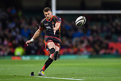 27th April 2019 , Principality Stadium , Cardiff, Wales ; Guinness pro 14's, Round 21, Dragons vs Scarlets ; Josh Lewis of Dragons kicks a penalty<br /> <br /> Credit :  Craig Thomas/Replay Images