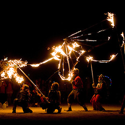Aug. 30 2008 - Black Rock City, Nevada, USA -Fire dancers perform with a dragon puppet on the playa following the burning of the Man, Saturday night, Aug. 30, 2008, during the Burning Man arts and culture festival in Black Rock City in the Black Rock Desert near Gerlach, Nev. (Credit Image: © David Calvert/ZUMA Press)