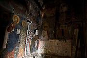 Albania, Prespa lakes, Snake Island (Zmiski Ostrov). Askitaria (Astoria) monastery of Panagia Eleoussa (Virgin Mary) Interior view of the wall paintings