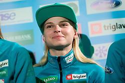 Spela Rogelj during press conference of Slovenian Men and Woman national Ski Jumping team, on November 28, 2017 in Pivovarna Union, Ljubljana, Slovenia. Photo by Ziga Zupan / Sportida