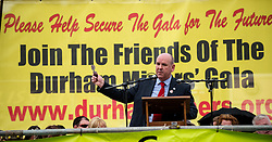Mick Whelan, General Secretary of ASLEF, speaking at the 130th Durham Miners' Gala. 2014