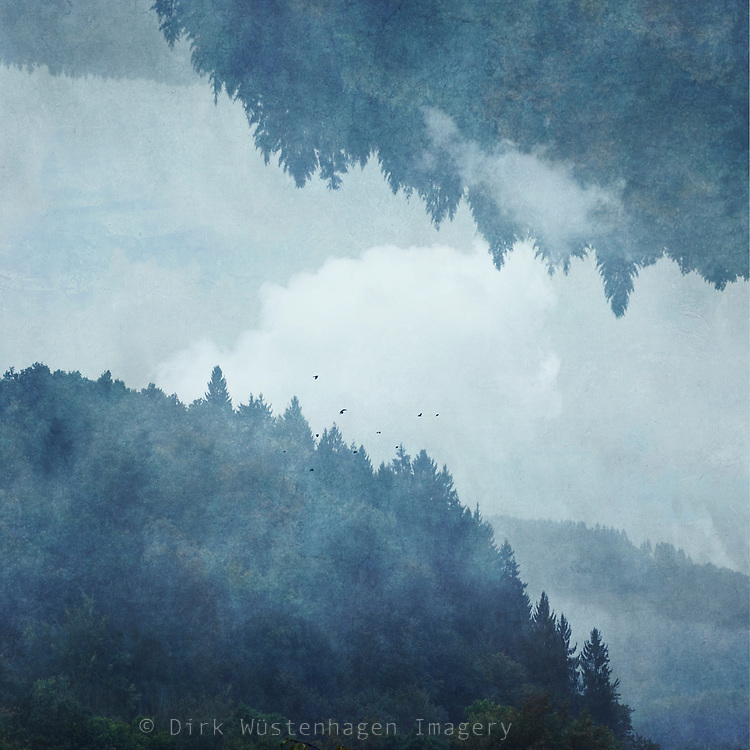 Foggy mountainous landscape digitally reflected<br /> available on Redbubble --> https://rdbl.co/2EcKhHZ
