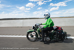Dottie Mattern riding her 1936 Indian Scout during stage 12 (299 m) of the Motorcycle Cannonball Cross-Country Endurance Run, which on this day ran from Springville, UT to Elko, NV, USA. Wednesday, September 17, 2014.  Photography ©2014 Michael Lichter.
