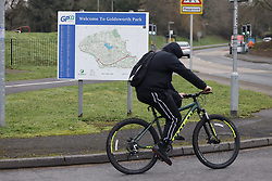 © Licensed to London News Pictures. 01/02/2021. Woking, UK. Members of the public are seen in the Goldsworth Park area in Surrey, where some cases of the South African variant of Covid-19 have been found. Public health England will carry out surge testing for selected parts of the Goldsworth Park, St Johns and Knaphill areas of Woking. Photo credit: Peter Macdiarmid/LNP