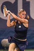 CAMILA GIORGI hits a backhand at the Rock Creek Tennis Center.