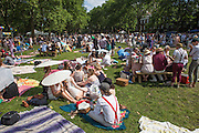 Crowds cover the lawn on Governors Island for the Jazz Age Lawn Party.