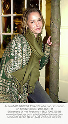 Actress MISS GEORGIE RYLANCE at a party in London on 13th November 2001.OUE 118
