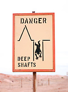 Miners warning sign in Coober Pedy, South Australia, Australia
