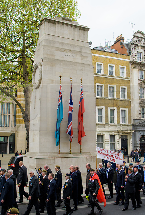 © Licensed to London News Pictures. <br /> 14/4/2017. London, Great Britain. <br /> Veterans march past the Cenotaph during the Justice for Northern Ireland Veterans March in central London.<br /> They are protesting the prosecution of former Service men and women who served in Northern Ireland during the Troubles.<br /> Photo credit: Anthony Upton/LNP