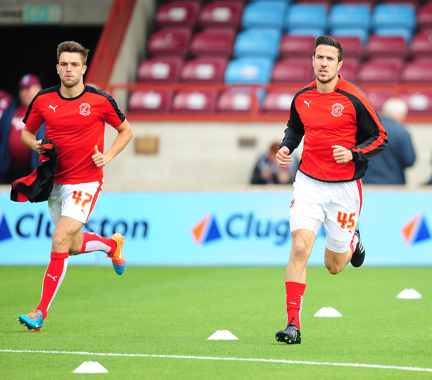 Fleetwood Town's Joe Davis, left, and Richard Wood during the pre-match warm-up <br /> <br /> Photographer Chris Vaughan/CameraSport<br /> <br /> Football - The Football League Sky Bet League One - Scunthorpe United v Fleetwood Town - Saturday 3rd October 2015 - Glanford Park - Scunthorpe<br /> <br /> © CameraSport - 43 Linden Ave. Countesthorpe. Leicester. England. LE8 5PG - Tel: +44 (0) 116 277 4147 - admin@camerasport.com - www.camerasport.com