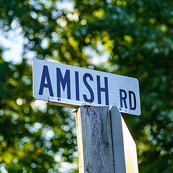 Gap, PA, USA - October 3, 2020:  The Amish Road sign in rural Lancaster County, Pennsylvania.