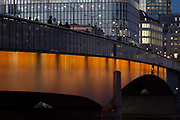 Looking northwards across London Bridge into the City of London - the capitals financial district aka the Square Mile, on 2nd November 2018, in London, England.