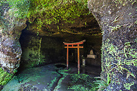 Kaizoji Cave with Shinto Torii Gate -  It is not unusualy for Buddhist temples in Japan to have remnants of the original original Shinto within its grounds.  Though the two faiths are quite different, they sometimes merge in unusual ways.  Behind the main hall Ryugoden at Kaizoji there are caves and wells.  Because much of the water in Kamakura was once of low quality, these wells were very precious.  Some of the caves contain statues of Kannon Bosatsu as well as the wells themselves.