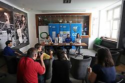 Ana Oblak, Metod Ropret, Bruno Najdic and Marina Cvetanovic at press conference of Slovenian National Women Team on June 21, 2016 in Hisa Sporta, Ljubljana, Slovenia. Photo by Matic Klansek Velej / Sportida