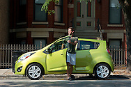 The 2013 Chevrolet Spark drives through Chicago, Illinois, Tuesday, September 4, 2012. The Spark comes equipped with a full-color, seven-inch touch screen radio – nearly double the size of any other vehicle in the segment – that features the new MyLink infotainment system. The Spark also comes equipped with the new BringGo smartphone navigation app for a one-time cost of $50. (Photo for Chevrolet)