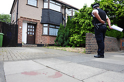 © Licensed to London News Pictures. 20/06/2017. <br /> PLUMSTEAD, UK.<br /> Blood on the pavement.<br /> More blood on the streets as a 54 year old man is stabbed in Plumstead last night. A 19 year old has been arrested on suspicion of murder. Emergency service were called to Brookdene Road around 7pm.<br /> Photo credit: Grant Falvey/LNP