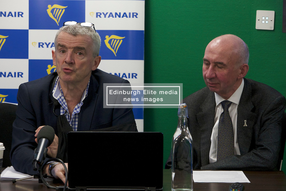 Pictured: Michael O'Leary and Sir John Elvidge, Chairman of Edinburgh Airport<br /> Michael O'Leary announces the introduction of 13 new Edinburgh routes and 2 new Glasgow routes. The routes will be introduced for winter 2017. However, O'Leary confirmed that the continuation of some of these routes would be conditional on the Scottish Government implementing the Air Passenger Duty reductions promised in the manifesto.