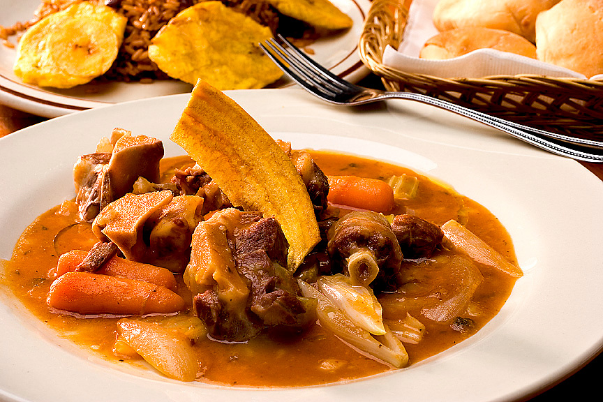 oxtail stew with fried plantains and rice and beans,Chef Ivan Dorvil,food photographer,miami,<br /> miami food photography