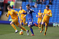 Tom Lawrence of Cardiff city © goes past Adam Reach ® and Calum Woods (l) of Preston North End. Skybet football league championship match, Cardiff city v Preston NE at the Cardiff city stadium in Cardiff, South Wales on Saturday 27th Feb 2016.<br /> pic by  Andrew Orchard, Andrew Orchard sports photography.