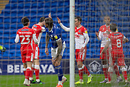 GOAL 0-1 Millwall's Jed Wallace (7) celebrates scoring his sides first goal during the EFL Sky Bet Championship match between Cardiff City and Millwall at the Cardiff City Stadium, Cardiff, Wales on 30 January 2021.