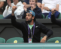 Lawn Tennis - 2021 All England Championships - Week Two - Tuesday - Wimbledon<br /> Ladies - Ashley Barty v Ajia Tomljanovic<br /> <br /> Ajla Tomljanovic's boyfriend Matteo Berrettini (Mens tennis player) urges her on from the players box<br /> <br /> <br /> Credit : COLORSPORT/Andrew Cowie