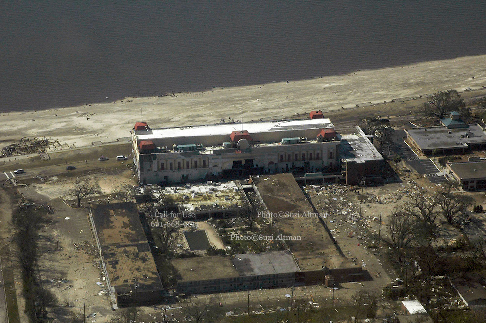Aerial view of the President Casino in Gulfport, Ms. Aug.31,2005. Hurricane Katrina Mississippi Gulf Coast aerials from first morning after the storm made land fall.Photo©Suzi Altman