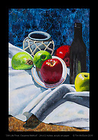 """""""Still Life Final, Cezanne Method"""" - 24 x12 inches, acrylic on paper.© Tim McGuire 2016"""