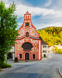 Colorful church in Fussen Germany. Church of the Holy Spirit