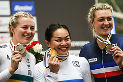 March 1, 2019 - Pruszkow, Poland - Stephanie Morton of Australia (Silver medal), Lee Wai Sze of Hong Kong (gold) and Mathilde Gros of France (bronze) pose on the podium for the Women's sprint Gold Medal Final on day three of the UCI Track Cycling World Championships held in the BGZ BNP Paribas Velodrome Arena on March 01, 2019 in Pruszkow, Poland. (Credit Image: © Foto Olimpik/NurPhoto via ZUMA Press)