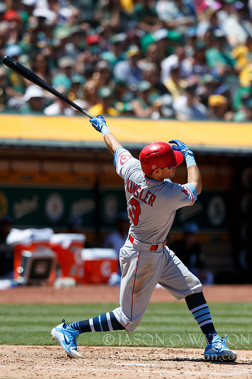 OAKLAND, CA - JUNE 17: Ian Kinsler #3 of the Los Angeles Angels of Anaheim at bat against the Oakland Athletics during the fifth inning at the Oakland Coliseum on June 17, 2018 in Oakland, California. The Oakland Athletics defeated the Los Angeles Angels of Anaheim 6-5 in 11 innings. (Photo by Jason O. Watson/Getty Images) *** Local Caption *** Ian Kinsler