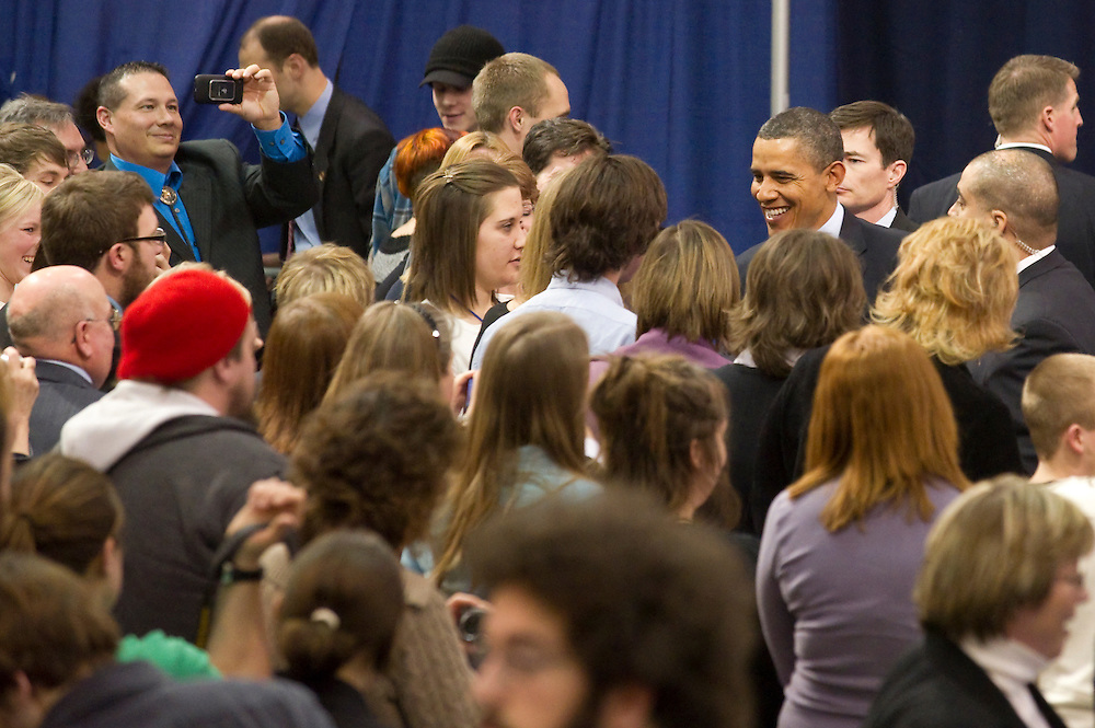 President Obama greets members of the crowd gathered for his remarks at Northern Michigan University February 2011.
