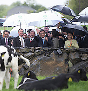17/05/2015 . H.E. Mr Li Premier of the State Council,  People's Republic of China with AN Taoiseach Enda Kenny TD at the farm of (Left of Taoiseach)Cathal Garvey from Ower Co. Mayo. Photo: Andrews Downes XPOSURE