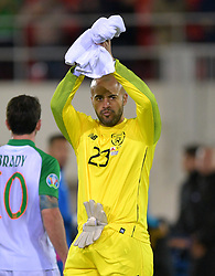 Republic of Ireland's Darren Randolph applauds the fans after the UEFA Euro 2020 Qualifying, Group D match at the Victoria Stadium, Gibraltar.