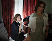 "Actress Ayça Bingöl (Cemile Akarsu in the film - in white) and Farah Zeynep Abdullah (Aylin Akarsu in film - in black).<br /> <br /> In Istanbul, Turkey, during the shooting of the 46th episode of Öyle Bir Geçer Zaman Ki (""As Time goes by""), a very popular Turkish drama television series broadcast by Kanal D and produced by Productions D.<br /> The series got many awards and broke several viewer records with a continous weekly market share of 50- 60 % and an average of 25- 30 million viewers each week in Turkey and more in the Turkish migration countries.<br /> Such drama series have become pop-culture phenomenon abroad, especially in the Arab world, Eastern Europe, Middle East but also all across Africa. By way of highlighting aspects of Turkish lifestyle, they have an increasing geopolitical impact on the region.<br /> In Saudi Arabia, Gumus's final episode (a popular Turkish melodrama) attracted a record 85 million Arab viewers when it aired in Aug. 30 2011."