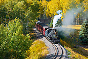 Cumbres and Toltec Railroad rolls through southern Colorado on the way back to Chama, New Mexico