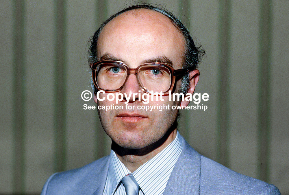 Howard Johnston, director of elections, Alliance Party of N Ireland, 19850407HJ.<br /> <br /> Copyright Image from Victor Patterson, Belfast, UK<br /> <br /> t: +44 28 9066 1296 (from Rep of Ireland 048 9066 1296)<br /> m: +44 7802 353836<br /> e: victorpattersonbelfast@gmail.com<br /> <br /> www.images4media.com<br /> <br /> Please see my full Terms and Conditions of Use at https://www.images4media.com/p/terms-conditions - it is IMPORTANT that you familiarise yourself with them.<br /> <br /> Images used online incur an additional cost. This cost should be agreed in writing in advance. Online images must be visibly watermarked i.e. © Victor Patterson or that of the named photographer within the body of the image. The original metadata must not be deleted from images used online.<br /> <br /> This image is only available for the use of the download recipient i.e. television station, newspaper, magazine, book publisher, etc, and must not be passed on to a third party. It is also downloaded on condition that each and every usage is notified within 7 days to victorpattersonbelfast@gmail.com.<br /> <br /> The right of Victor Patterson (or the named photographer) to be identified as the author is asserted in accordance with The Copyright Designs And Patents Act (1988). All moral rights are asserted.