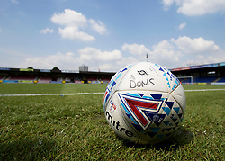 A general view of a Wimbledon warm up ball during a pre season friendly match at The Cherry Red Records Stadium, Kingston Upon Thames.