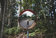 Self-portrait near Negreira, Spain, taken several hours after leaving Santiago de Compostela. Negreira would be the first of two overnight stops on the walk to the Atlantic Ocean. (July 16, 2018)<br />