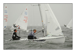 470 Class European Championships Largs - Day 2.Wet and Windy Racing in grey conditions on the Clyde...GBR0, Sophie WEGUELIN, Sophie AINSWORTH, Royal Lymington Yacht Club ..