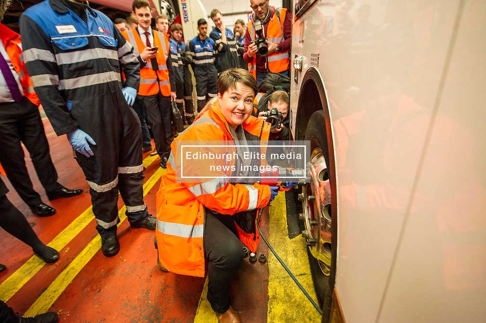 Pictured: Ruth Davidson<br /> Scottish Conservative leader Ruth Davidson, MSP,  visited Lothian Buses today in Edinburgh to meet apprentices at the start of Apprenticeship Week. While there she was shown round by Managing Director Richard Hall and attempted to change a wheel.<br /> <br /> Ger Harley | EEm 7 March 2017