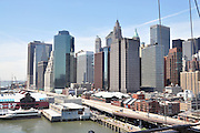 New York City skyline as seen from the Brooklyn Bridge