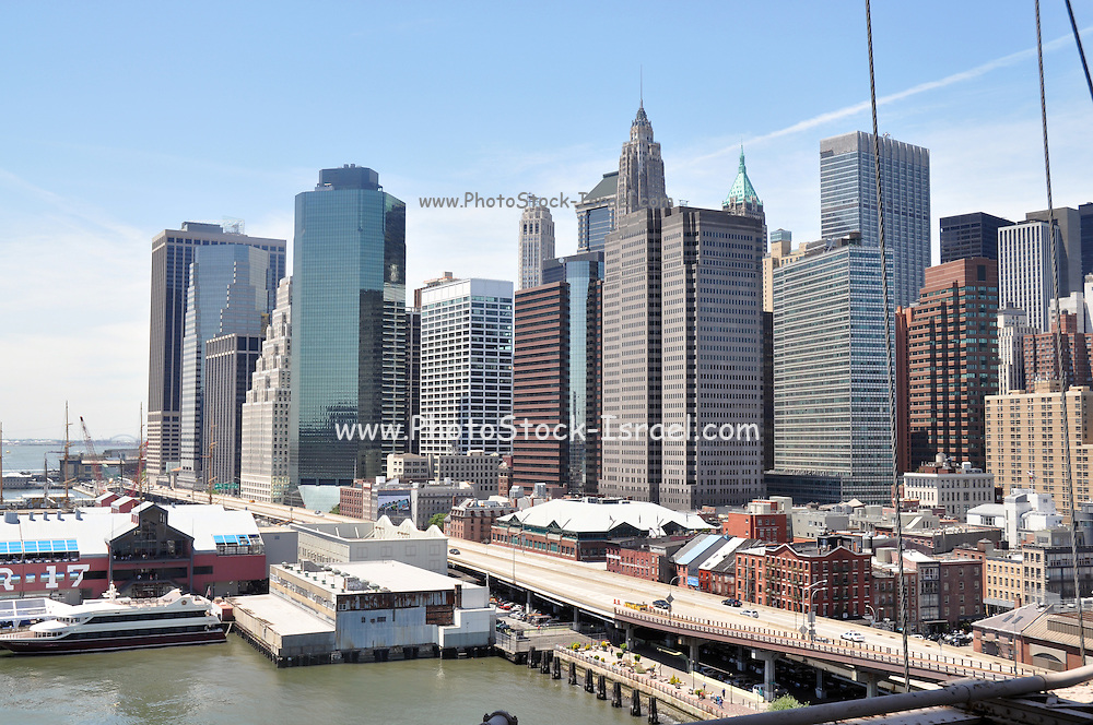 New York City skyline as seen from the Brooklyn Bridge