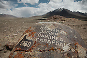 Names of Russian soldiers inscribed on a rock, near the old Russian base from 1980...Around the shrines of Bozoi Gumbaz. at the entrance to the Little Pamir Plateau, beside the Waghjir river, one of the claimed source of the Oxus river...Trekking up and along the Wakhan river, the only way to reach the high altitude Little Pamir plateau, home of the Afghan Kyrgyz community.