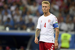 July 1, 2018 - Nizhny Novgorod, Russia - Simon Kjaer of Denmark during the 2018 FIFA World Cup Round of 16 match between Croatia and Denmark at Nizhny Novgorod Stadium in Nizhny Novgorod, Russia on July 1, 2018  (Credit Image: © Andrew Surma/NurPhoto via ZUMA Press)