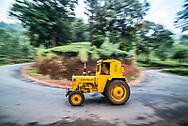Tractor on a tea estate, Munnar, Western Ghats Mountains, Kerala, India