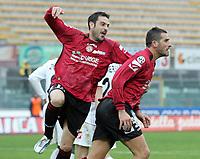 """L'esultanza di Cristiano Lucarelli (Livorno) dopo il gol del 2-0 abbracciato da Stefano Fiore (Livorno)<br /> Cristiano Lucarelli (Livorno) celebrates with Stefano Fiore (Livorno) after scoring goal<br /> Italian """"Serie A"""" 2006-07<br /> 18 Feb 2007 (Match Day 24)<br /> Livorno-Messina (2-1)<br /> """"Armando Picchi""""-Stadium-Livorno-Italy<br /> Photographer: Luca Pagliaricci INSIDE"""