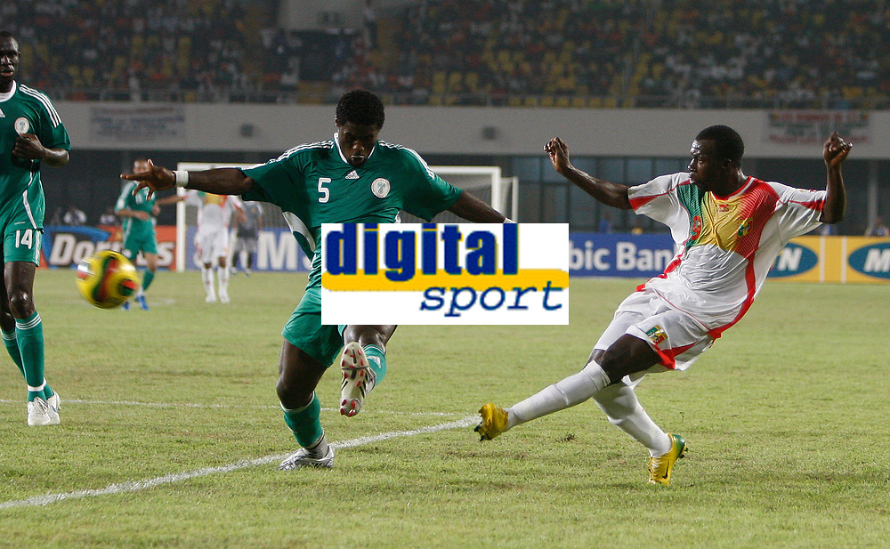 Photo: Steve Bond/Richard Lane Photography.<br />Nigeria v Mali. Africa Cup of Nations. 25/01/2008. Amadou Sidibe (R) gets a cross in, in front of Obinna Nwaneri (L)