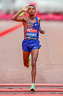 Mosinet Geremew (Ethiopia) crosses the finish line in as second place finisher, in the Men's Elite race, during the Virgin Money 2019 London Marathon, London, United Kingdom on 28 April 2019.